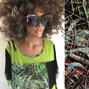 KAKTUS Tropical Abstract TUNIC TOP / Mini Dress XL
